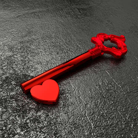 shiny heart: Red vintage key with a shiny heart on a rough black stone table 3D illustration