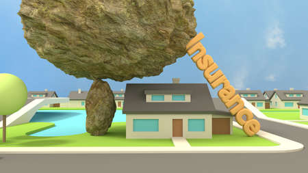Huge rock on top of a small stone ready to crush a house supported by the words insurance to prevent a collapse 3D illustration