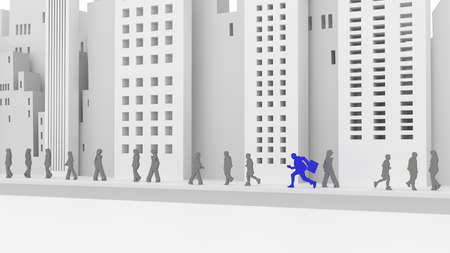 among: Businessman in blue running among people on the street in front of a grey city skyline 3D illustration