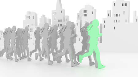 group fitness: Group of female runners in grey in front of a city skyline with the front runner in green fitness and competition concept flat design 3D illustration