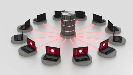 Twelve laptops arranged in a circle around a hexagon server with glowing red fiber connections denial of service attack cybersecurity concept 3D illustration