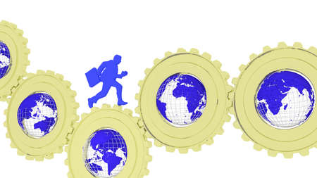Businessman in blue running over golden gears with globes inside facing different countries global business concept 3D illustration