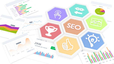 Seven hexagon tiles in different colors on several business charts with the word SEO in the center and related symbols around search engine optimization concept 3D illustration