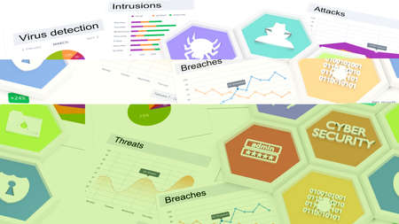 threats: Seven hexagon tiles in a circle with cybersecurity icons on a table with various charts about security threats cybersecurity concept 3D illustration