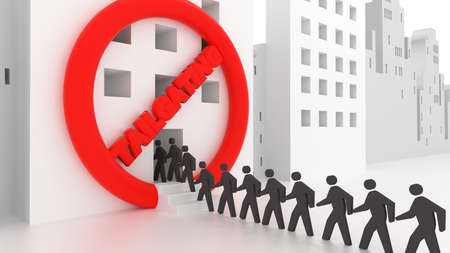 Red circular sign crossed by the word no tailgating with people walking in a row inside of an office building social engineering cybersecurity concept 3D illustration