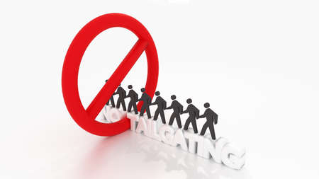 Red circular sign crossing the word no tailgating with people walking in a row inside of the symbol social engineering cybersecurity concept 3D illustration Standard-Bild