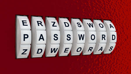 stealing data: White circular lock embedded in a red wall showing the word password cybersecurity concept 3D illustration