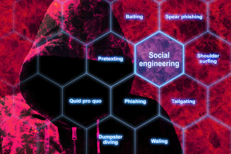 Hexagon grid with social engineering keywords like phishing and tailgating with a red hacker in flames background