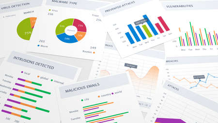 threats: Table with various charts about threats and attacks cybersecurity background 3D illustration Stock Photo