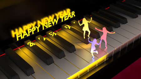 Three women dancing on a piano keyboard under differently colored spotlights with a glowing happy new year in the background 3D illustration