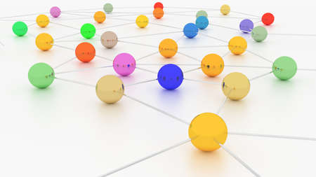 Colorful network with differently colored nodes connected by silver cylinders on white 3D illustration