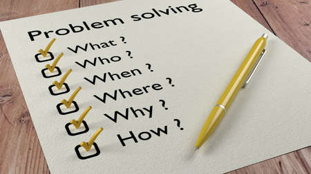 where: Problem solving checklist with the words what who when where why and how on a piece of paper with yellow ticks and a ballpen 3D illustration