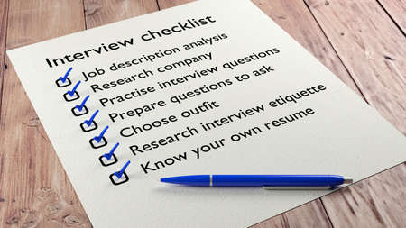 ball pen: Job interview checklist on wooden table with a blue ball pen and tickmarks 3D illustration