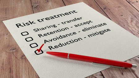 mitigate: Risk treatment checklist where the word reduction mitigate has a red tickmark on a white paper list and a ball pen 3D illustration Stock Photo