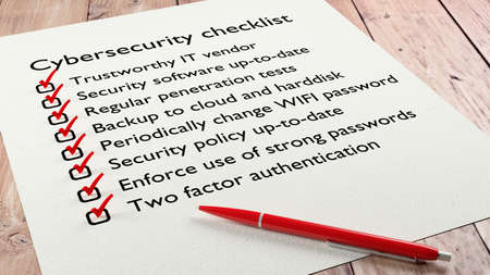 Cybersecurity checklist on white paper with red tickmarks and a pen 3D illustration