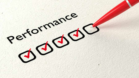 ballpen: Red ball pen crossing off excellent on a performance evaluation satisfaction checklist on white paper 3D illustration