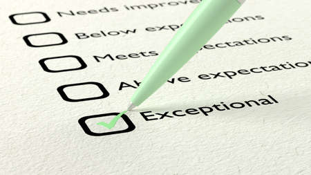 exceptional: Green ball pen crossing off exceptional on a performance evaluation checklist on white paper 3D illustration