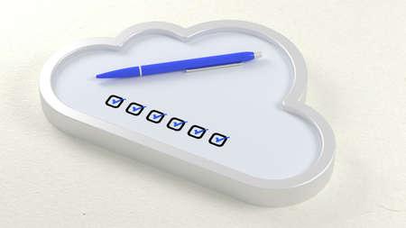 checklist: Blue ball pen in a cloud symbol checklist on white table 3D illustration