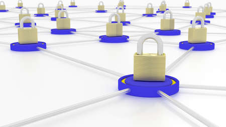 platforms: Connected platforms in blue with golden padlocks on top cybersecurity network security concept 3D illustration