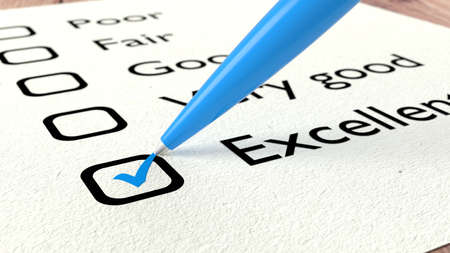 Blue ball pen crossing off excellent on a performance evaluation checklist on white paper 3D illustration Stock Photo
