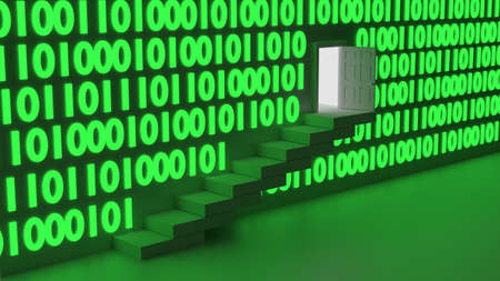 backdoor: Stairs leading up to an exit in a wall with green glowing digital datastreams backdoor concept 3D illustration