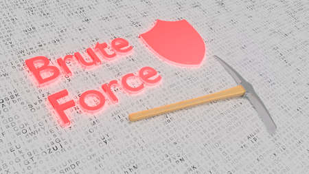 Brute force attack concept with a pick axe and shield on white letter background 3D illustration
