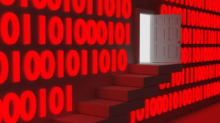 backdoor: Stairs leading up to an exit in a wall with red glowing digital datastreams backdoor concept 3D illustration Stock Photo