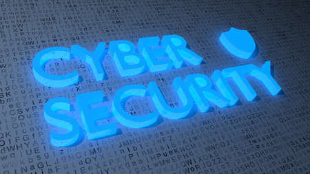 Blue shield symbol and the word cybersecurity on a random white grunge letter background fading into the darkness 3D illustration security concept