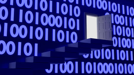backdoor: Stairs leading up to an exit in a wall with blue glowing digital datastreams backdoor concept 3D illustration Stock Photo