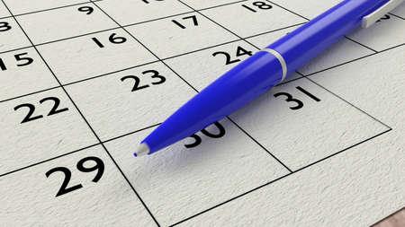 ballpen: Blue ballpen on a paper calendar closeup 3D illustration