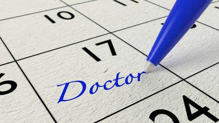 ballpen: Blue ballpen on a paper calendar closeup with the word doctor 3D illustration
