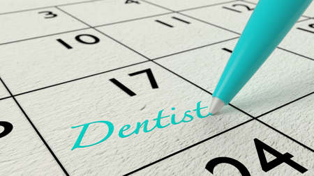appointments: Blue ballpen on a paper calendar closeup with the word dentist 3D illustration Stock Photo
