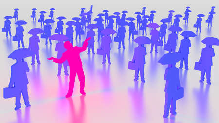 optimistic: Pink glowing businessman optimistic between a group of people with briefcases and umbrellas 3D illustration