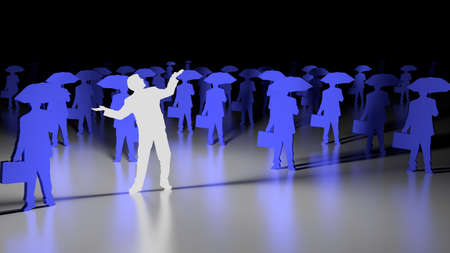 open arms: White glowing businessman with open arms standing out from a blue crows with umbrellas 3D illustration individuality concept