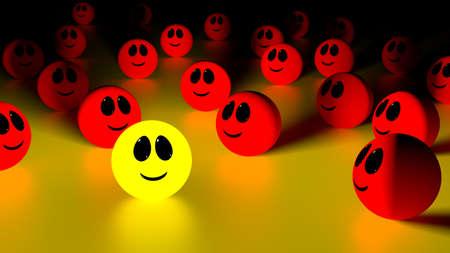 Gele gloeiende bal met een lachend gezicht staande uit de menigte van rode bollen te kijken naar de individuele 3d Illustratie