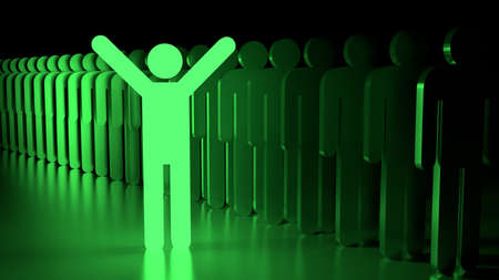 individuality: Green happy glowing man standing next to a row of ordinary people individuality concept 3D illustration
