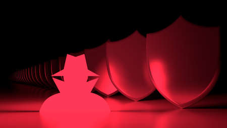 Glowing red hacker symbol next to a row of metal shields cybersecurity concept 3D illustration