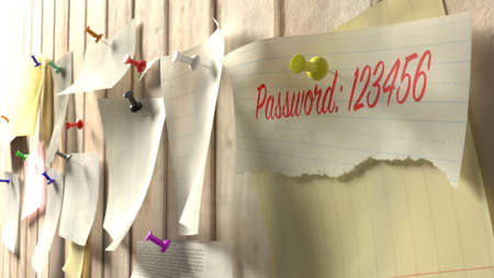 Note with password 123456 on a wooden kitchen wall with pins cybersecurity 3D illustration Stock Photo