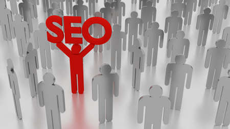 Crowd of men and one red person standing out from the crowd with an SEO sign search engine optimization concept 3D illustration