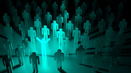 Blue happy glowing man standing in a group of ordinary people individuality concept 3D illustration Stock Photo