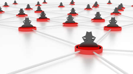 Insecure network with several red platforms connected through silver data lines and a black hat hacker symbol 3D illustration cybersecurity concept
