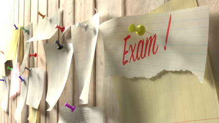 event planner: Wall with different notes pinned to it and one paper showing the word exam in red 3D illustration Stock Photo