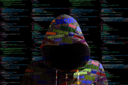 Hacker in a green hoody standing in front of a code background with binary streams and colored information security terms cybersecurity concept Standard-Bild