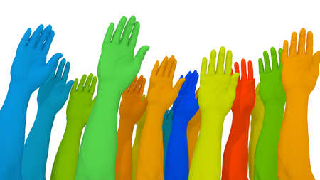 Differently colored arms and hands on white diversity concept 3D illustration