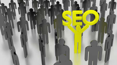 Crowd of men and one yellow person standing out from the crowd with an SEO sign search engine optimization concept 3D illustration