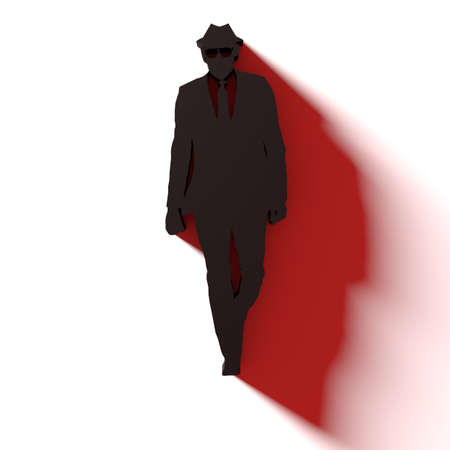 Black hat hacker silhouette on white with a red side shadow flat design 3D illustration