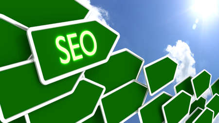 Green arrows with the word SEO in front of a cloudy blue sky pointing towards the sun search engine optimization concept 3D illustration