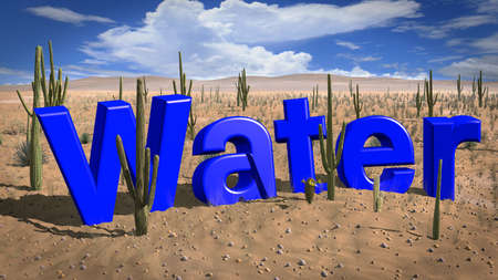 The word water in a desert on a hot and sunny day absence of water concept 3D illustration