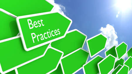 practices: Multiple green arrow signs pointing in a direction with a cloudy blue sky and sun background best practices concept 3D illustration