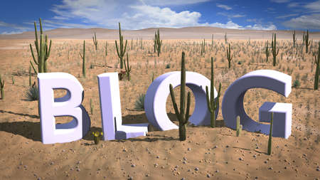 Finding a niche concept 3D illustration with the letters blog standing in the hot sand of the desert Stock Photo